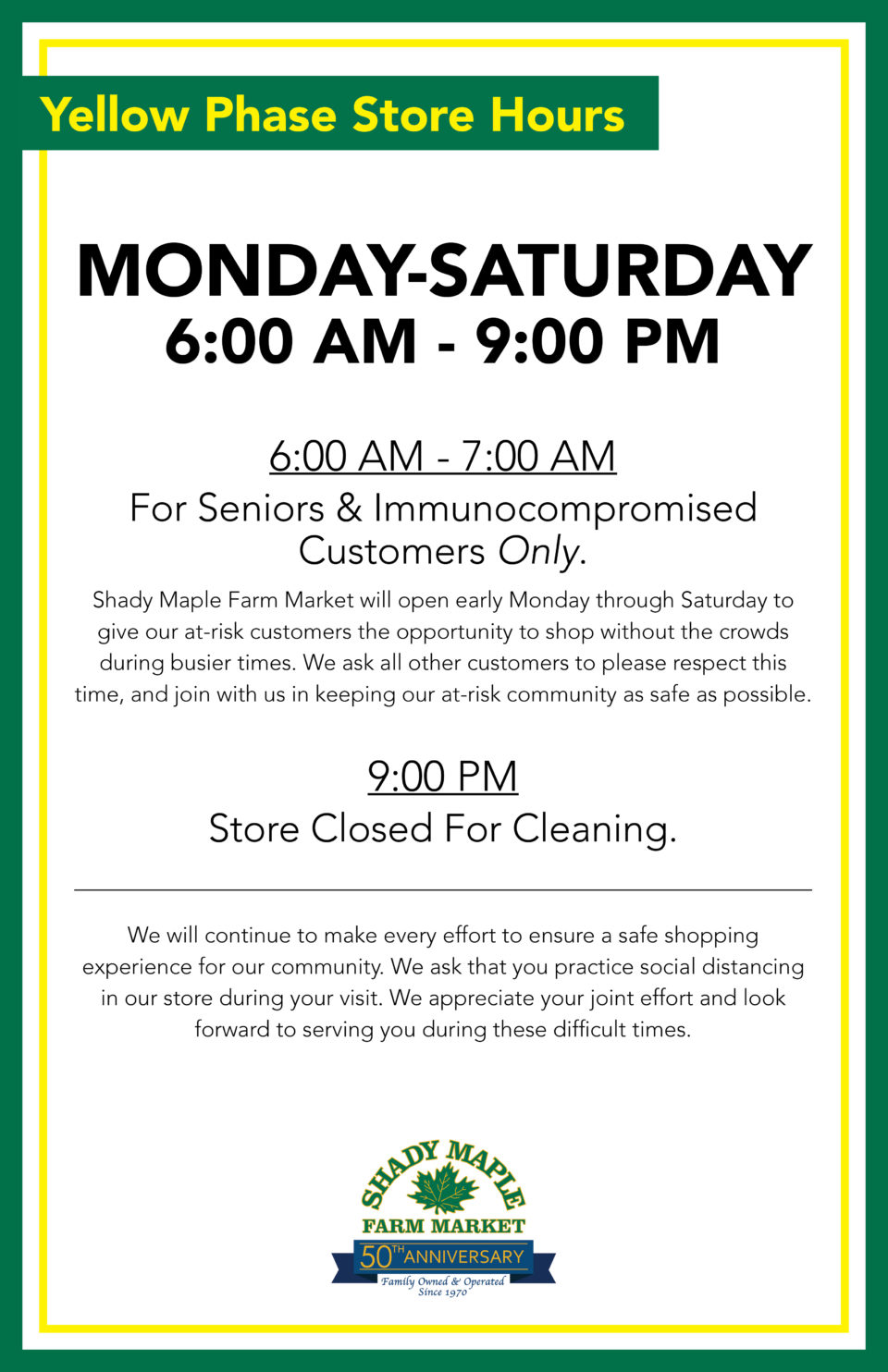 Covid 19 Store Hours April
